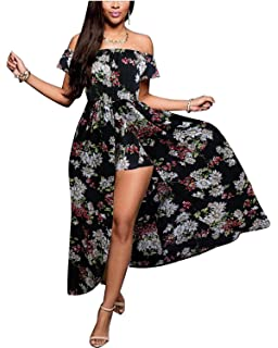 a29405b4428 BIUBIU Women s Off Shoulder Floral Rayon Party Split Maxi Romper Dress S-3XL