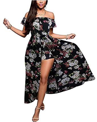 e78da808e BIUBIU Women's Off Shoulder Floral Rayon Party Maxi Split Romper Dress  Black S