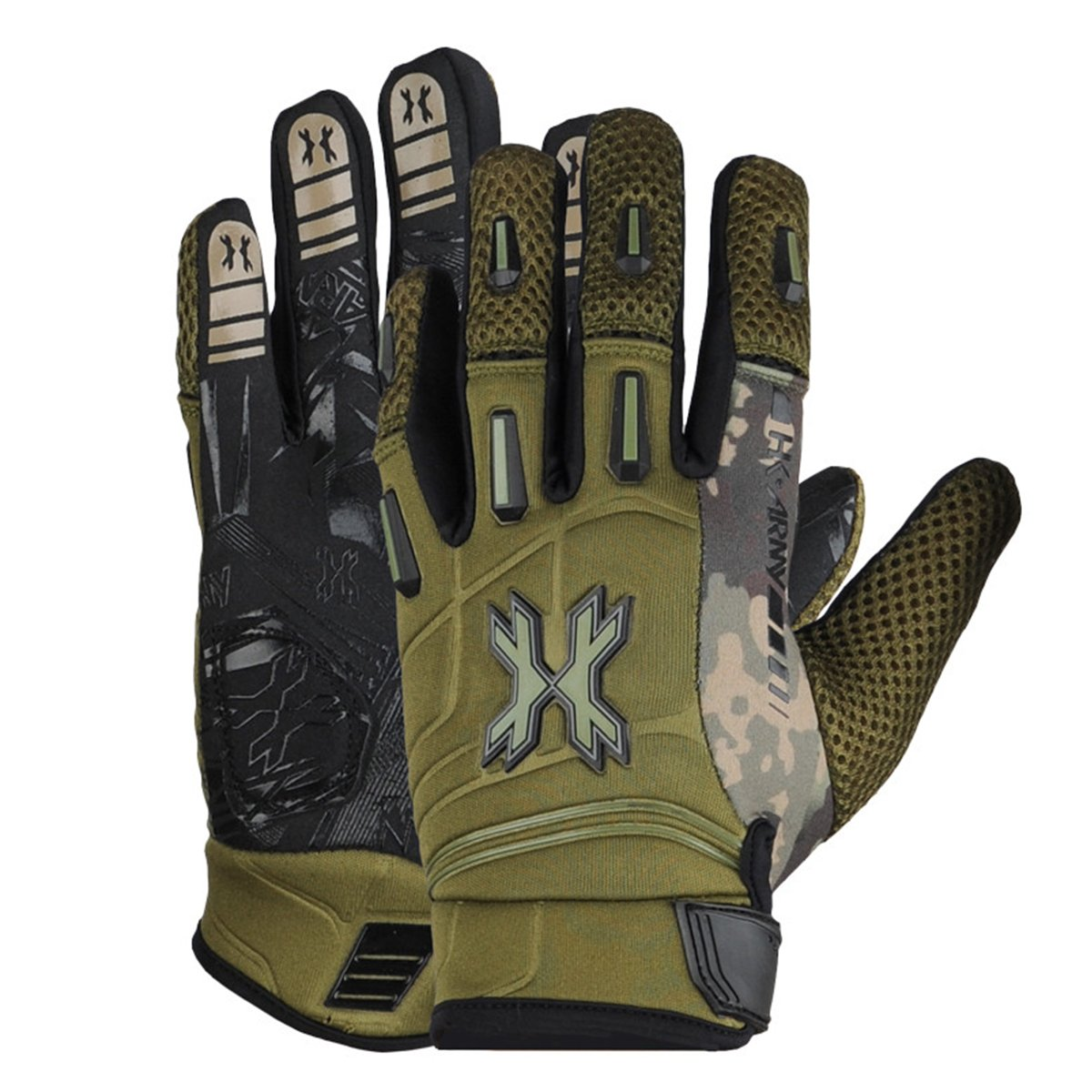 HK Army FULL FINGER Hardline Paintball Gloves (Olive HSTL Camo, Large) by HK Army