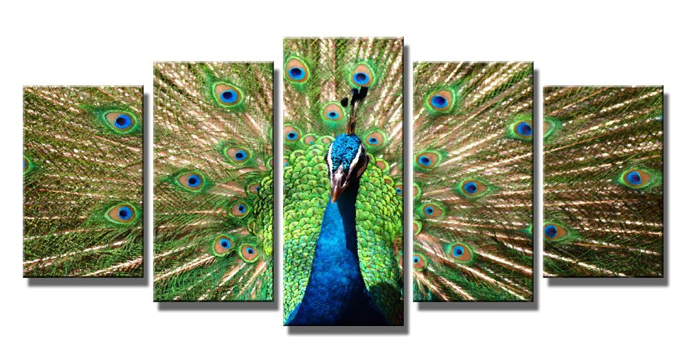 Wieco Art - The Peacock 5 Piece Modern Stretched and Framed Giclee Canvas Prints Artwork Green Animals Pictures Paintings on Canvas Wall Art for Living Room Bedroom Home Decorations