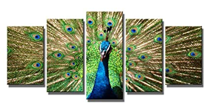 e40e55acbb9 Wieco Art The Peacock Canvas Prints Wall Art Green Animals Pictures  Paintings for Living Room Bedroom