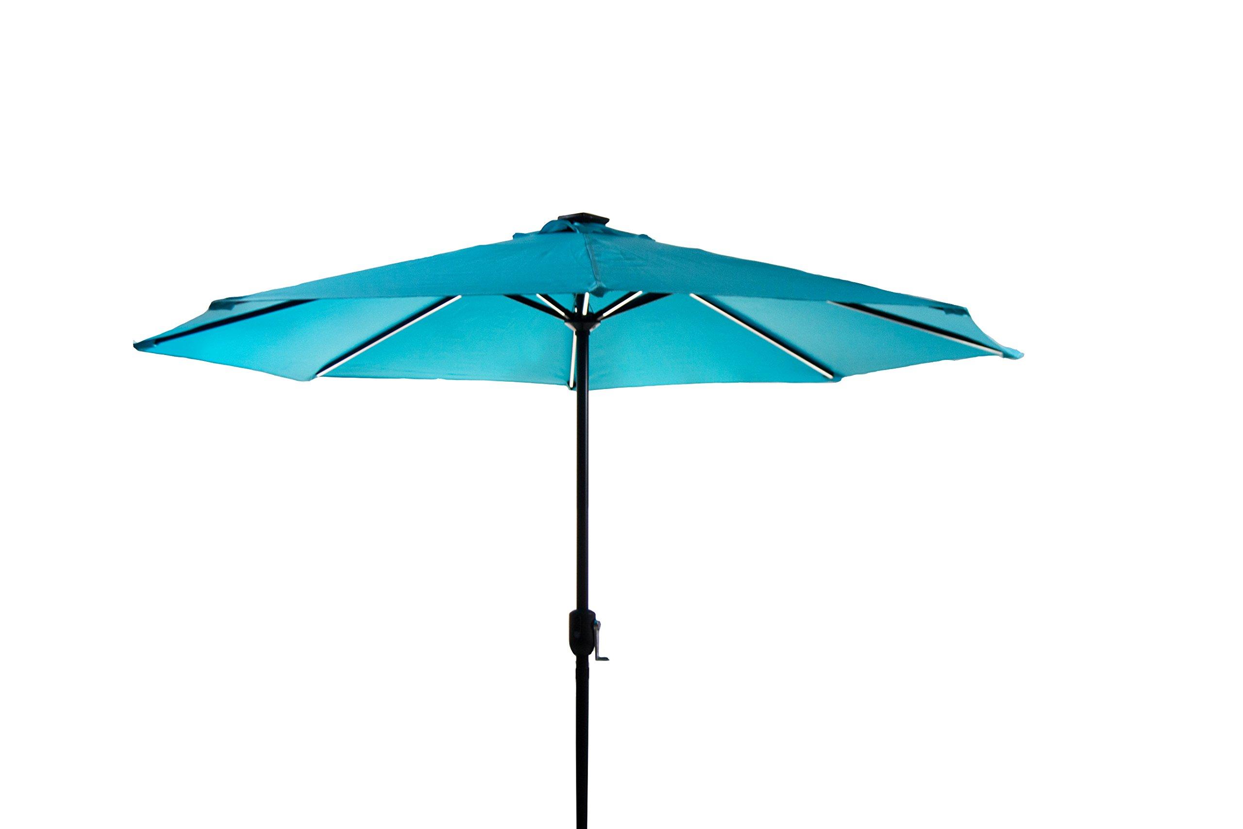 Polaris Garden Outdoor Patio 9 Ft Deluxe Aluminum Table Market Umbrella with Crank Handle, 8 Aluminium Ribs, Polyester Canopy, Solar Powered LED Lighted (Sky Blue)