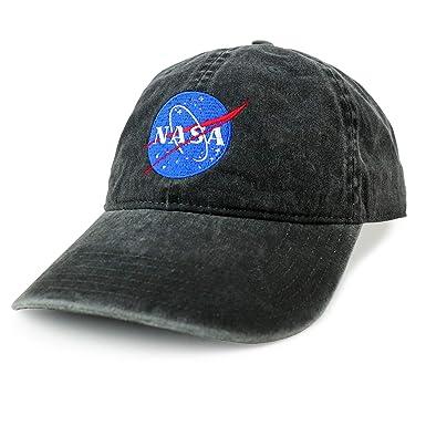 008e685e15e Armycrew XXL NASA Insignia Logo Pigment Dyed Unstructured Baseball Cap -  Black - 2XL