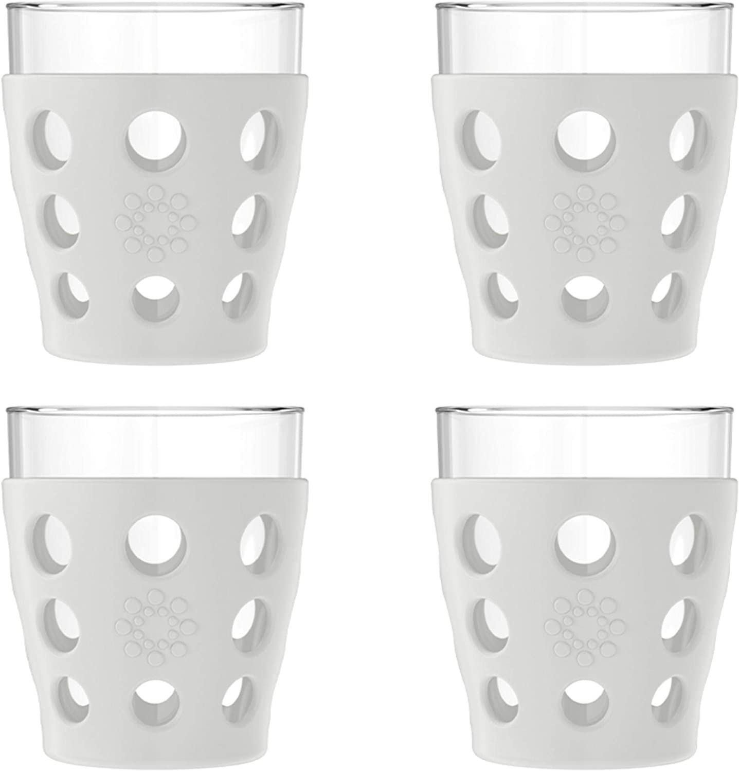 Lifefactory 10-Ounce BPA-Free Indoor/Outdoor Protective Silicone Sleeve Beverage Glass, 4-Pack, Stone Gray