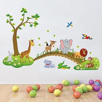 correspondant en couleur design professionnel haut de gamme authentique IVIDZ Lot de stickers muraux amovibles pour chambre d'enfant Motif animaux