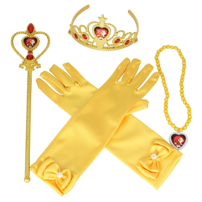 Tiaras and Crowns for Little Girls 4 Pcs Set with Princess Wands Princess Gloves Princess Tiara Necklaces