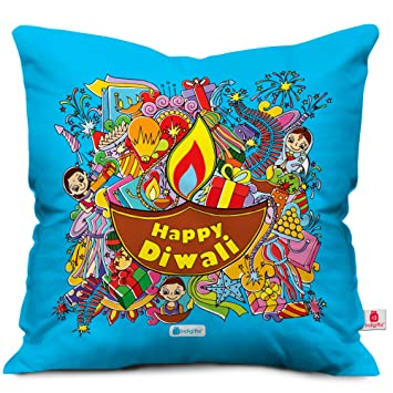 Amazon.com: indigifts Happy Diwali cita azul Funda de cojín ...