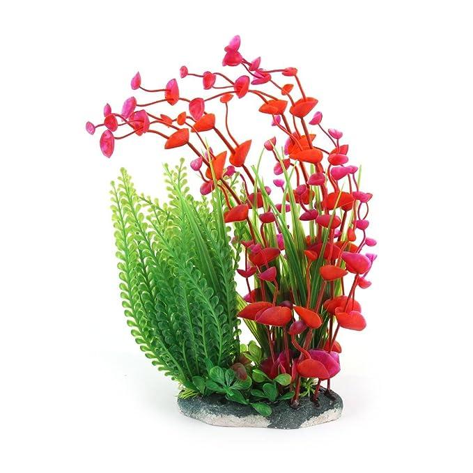 Amazon.com : eDealMax Decoración Hierba Planta de agua plásticas artificiales Rojo Verde Para el acuario : Pet Supplies