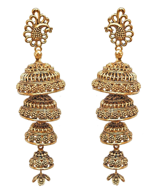 Amazon.com: Pahal Traditional Big Multi Layer Gold Silver Jhumka
