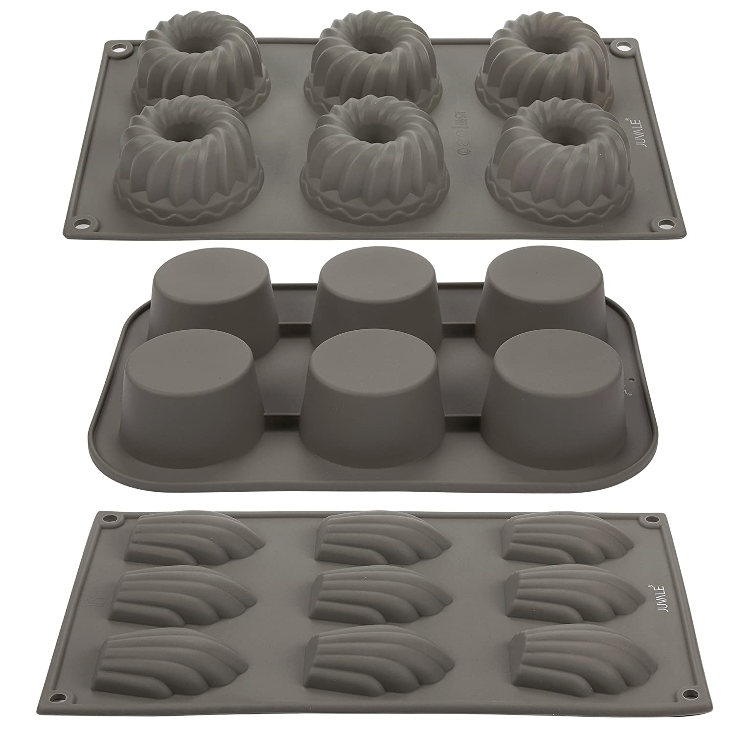 Silicone Baking Pans Set - Madeleines, Muffin/Cupcake, Bundt Cake Molds - 3-in-1 Set - Non-Stick Silicone Bakeware Baking Mold Tray - Gray Juvale