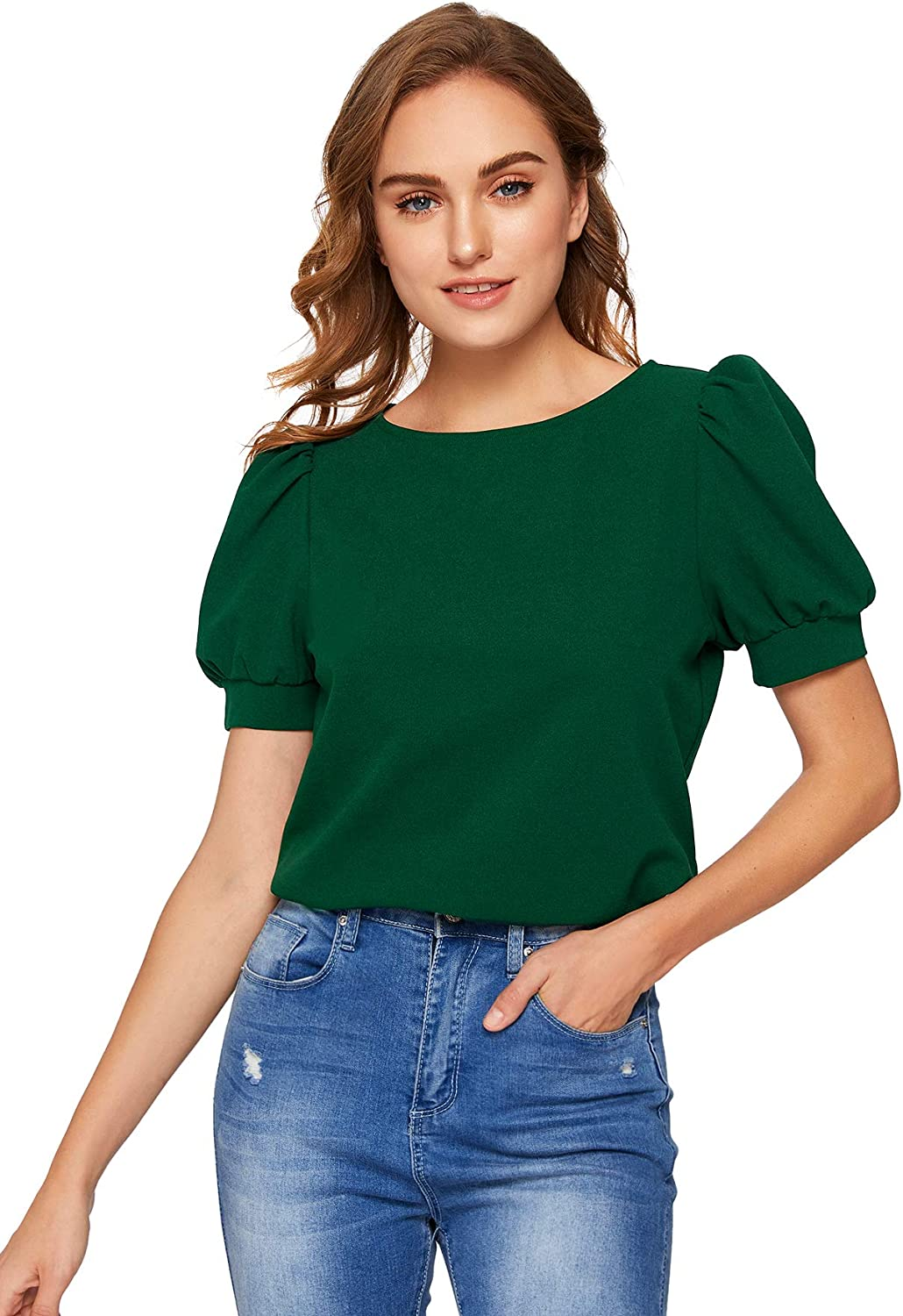 SheIn Women's Puff Sleeve Blouse for Work Plain Office Top Short Army Green XX-Large