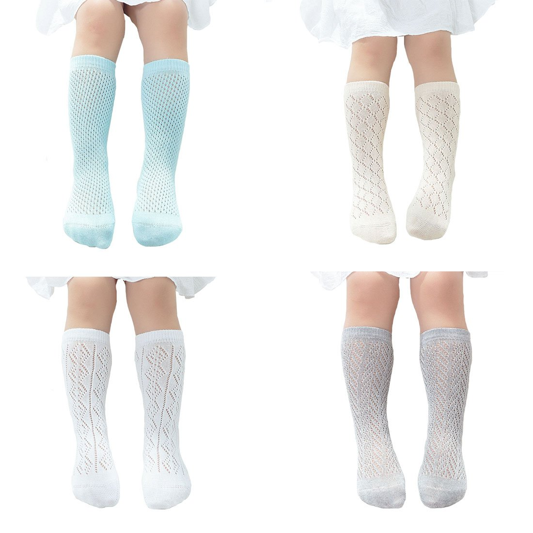 4 Pack Baby Girls Socks Thin Hollow Out Knee High Stockings (L(5~8T))