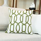 """Shinnwa Cotton Linen EMBROIDERY Decorative Throw Pillow Case Cushion Cover for Sofa 18"""" By 18"""", Green"""
