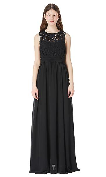 57c3ed72d8 Mommesilk Women s Chiffon Maxi Dress Bridemaid Long Sleeveless Elegant Cocktail  Party Dresses Black Size S