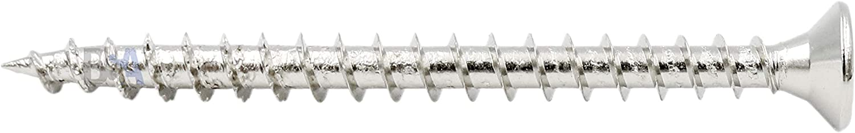 50 tornillos de 4 x 55 mm de todo rosca IROX de acero niquelado con cabeza de cruz Pozidriv PZD plana desalojada tornillo para madera y aglomerado 4 x 55 aglomerados