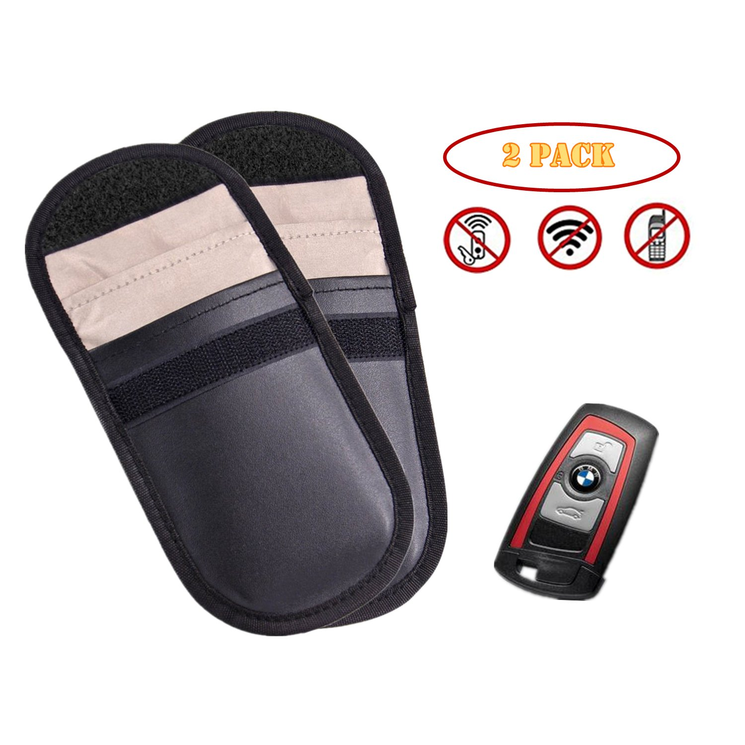 2* Car Key RFID Signal Bloking Case, TAIKUU Singal Blocker Pouch Bag for Keyless Entry Fob Guard, Antitheft Lock Device, Healthy Cell Phone Privacy Protection Security WiFi/ GSM/ LTE/ NFC/ RF Blocker