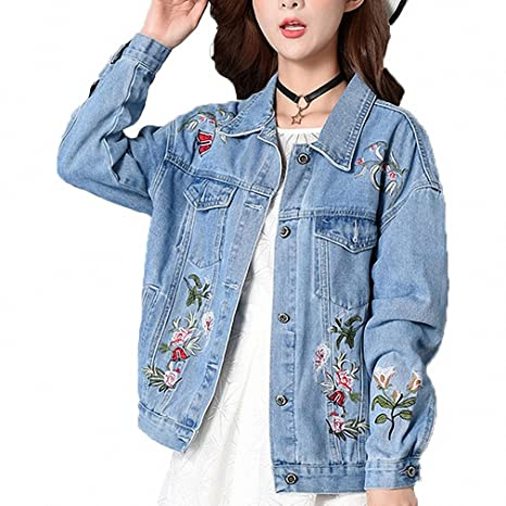 Huiwa Womens Denim Jacket Embroidery Jeans Coat Long Sleeve ...