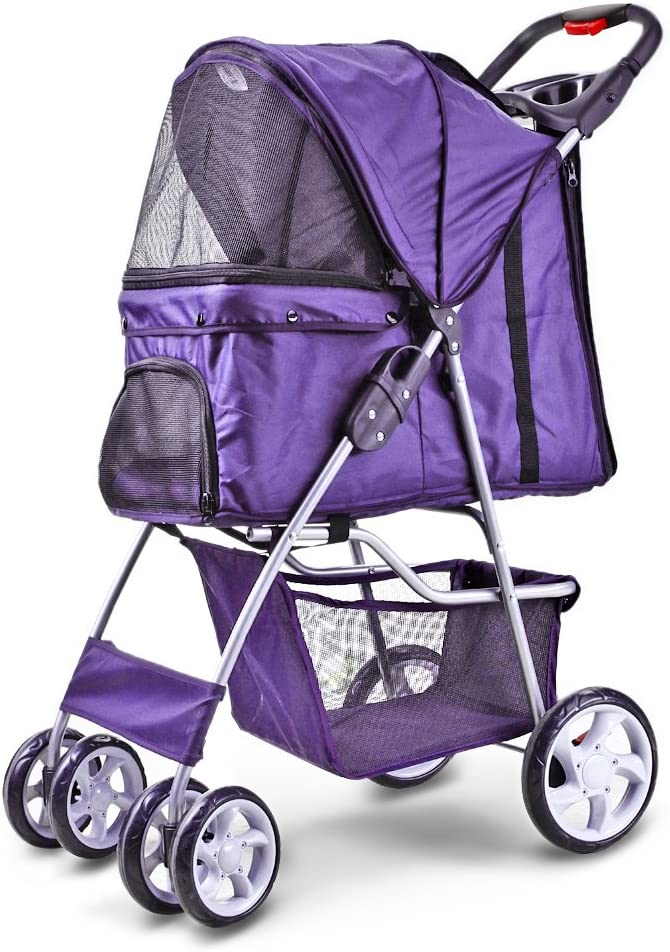 Flexzion Pet Stroller Dog Cat Small Animals Carrier Cage 4 Wheels Folding Flexible Easy Walk for Jogger Jogging Travel Up to 30 Pounds with Sun Shade Cup Holder and Mesh Window