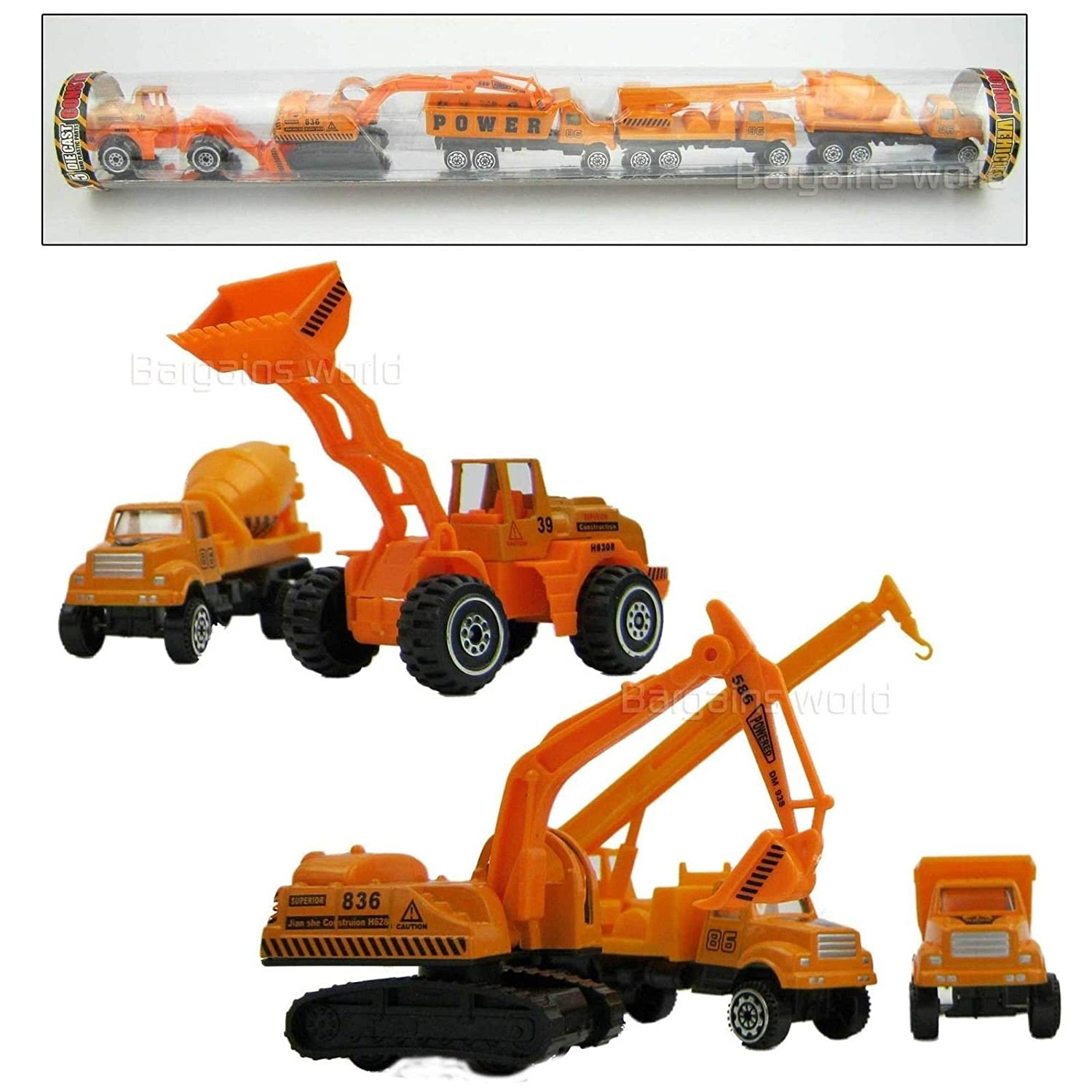 toy construction vehicle set die cast 5 trucks includes crane