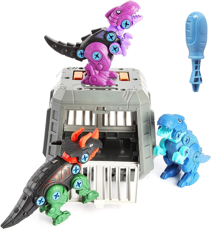HshDUti Juego de construcción de dinosaurio de juguete Triceratops con destornillador, jaula de aprendizaje pedagógico, kit de cumpleaños para niños de 5 a 7 años