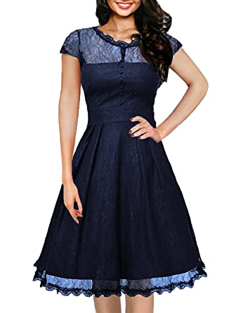 OWIN Womens Retro Floral Lace Cap Sleeve Vintage Swing Bridesmaid Dress (S, Blue)