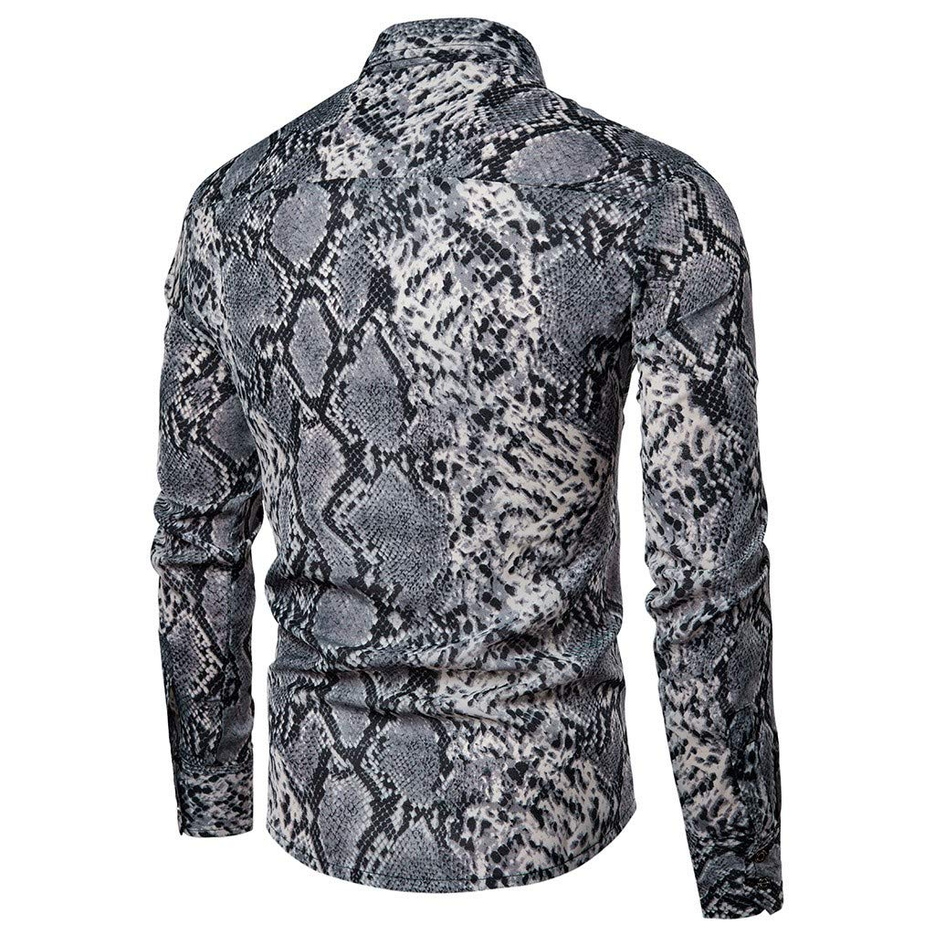 TAGGMY Men Shirts Fashion Printed Long Sleeve Spring Casual Slim Fit Button Standing Collar Tops Blouse