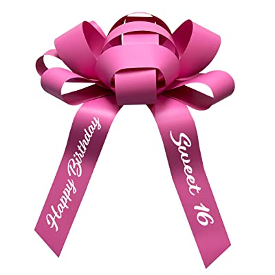 """CarBowz Big Car Bow, Sweet 16 Happy Birthday, Giant 30\"""" Bow, Non Scratch Magnet, Weather Resistant Vinyl (Pink): Automotive [5Bkhe1501814]"""