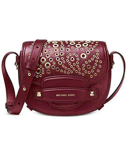 68c4d6071299 Image Unavailable. Image not available for. Color: Michael Kors Cary Small  Saddle Crossbody Paisley Grommet Charm, Oxblood