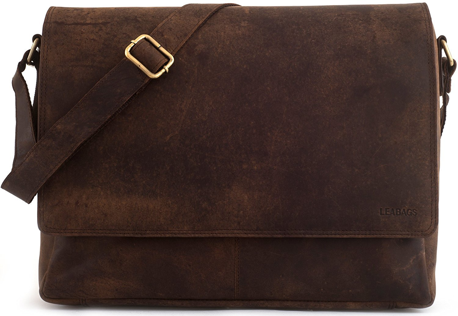 LEABAGS Oxford genuine buffalo leather messenger bag in vintage style - Muskat