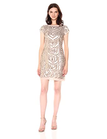 5b32e0c5a3a0 Vince Camuto Women's Sequin Shift Dress at Amazon Women's Clothing ...