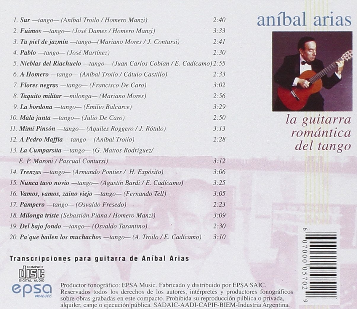 Guitarra Romantica Del Tango: Anibal Arias: Amazon.es: Música