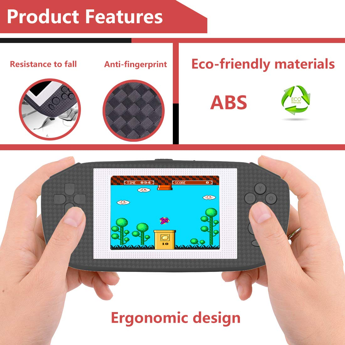 Beico Handheld Games for Kids Adults 3.5'' Large Screen Built in 416 Classic Retro Video Games Seniors Electronic Games Consoles Birthday Present (Black) by Beico (Image #5)