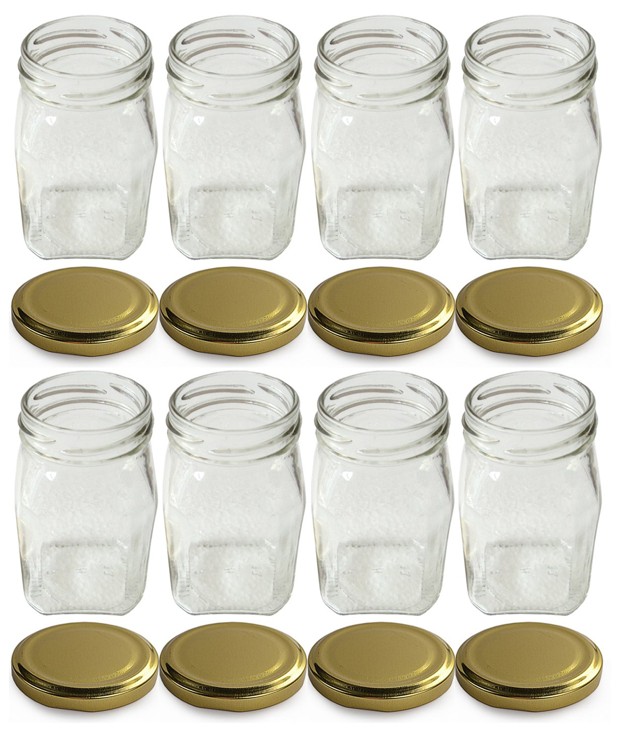 Favola 250 Gram (Gm) Lead Free Square Glass Jar and Container with Rust Proof Air Tight Lid - (Pack of 8)