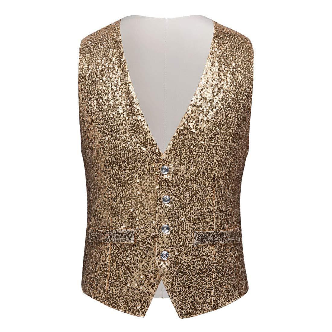 PYJTRL Mens Fashion Full Sequins Paillette Waistcoat (Gold, US 44R) by PYJTRL