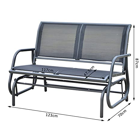 Outsunny Double Seat Swing Chair Outdoor Garden Patio Glider Bench Grey:  Amazon.co.uk: Garden U0026 Outdoors
