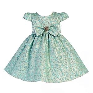 Crayon Kids Baby Girls Sea Blue Floral Pattern Bow Flower Girl Dress 12M