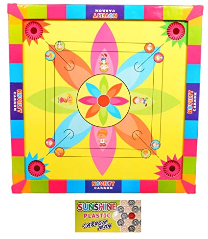 Jaykal Carrom Board with Snake Ladder 2 in 1 Game, Carrom Board for Kids (Size: 14x14 Inch)