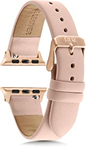 Compatible with Apple Watch Bands 38mm Women - Apple Watch Bands Women - Apple Watch Band 40mm Series 4 - Apple Watch Band Leather - Pink Leather Apple Watch Band - Rose Gold Apple Watch Band (Nude)