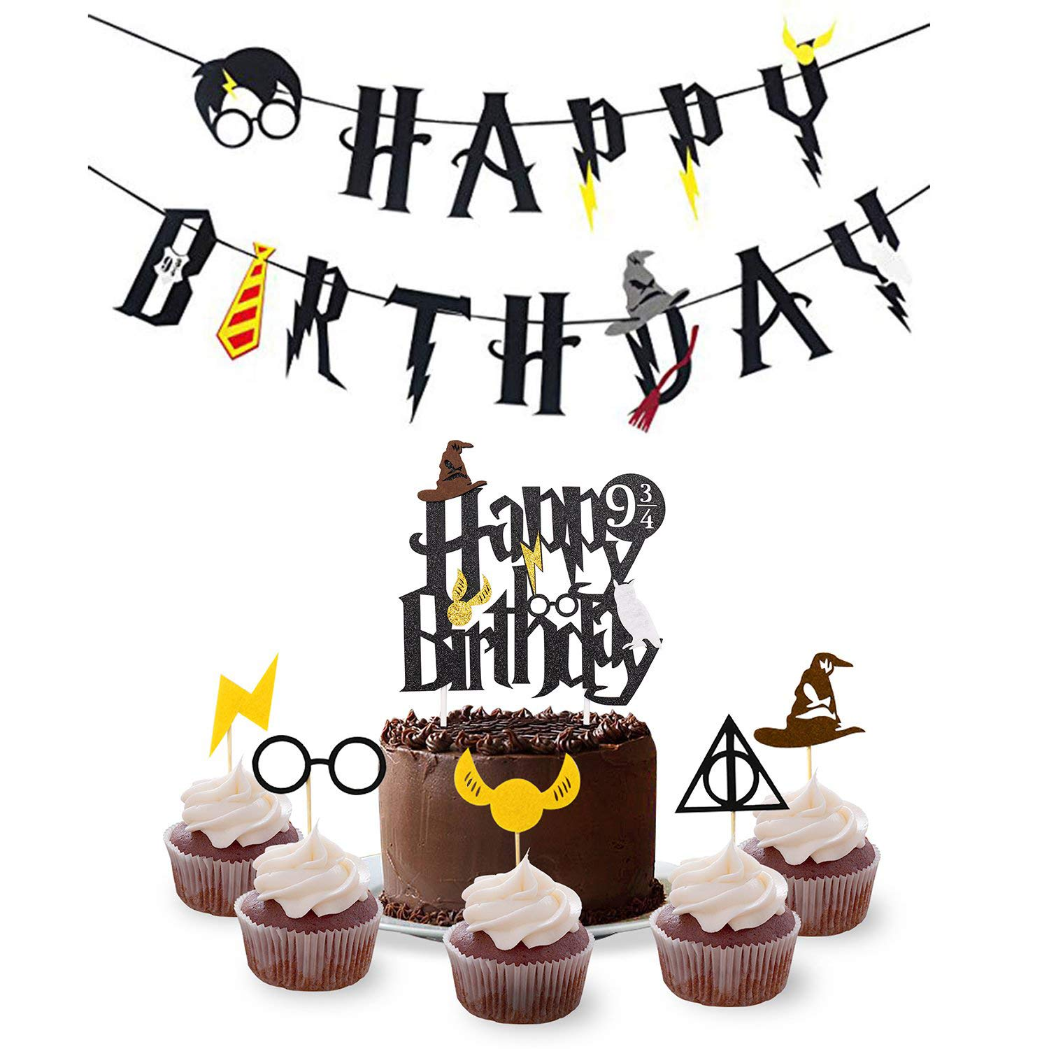 Harry Potter Birthday Party Supplies Set Happy Birthday Banner with Cake Topper,30pcs Cupcake Toppers for Halloween Wizard Theme Party Supplies Decorations