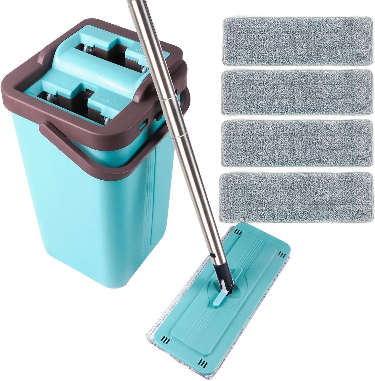 Kalokelvin Fregona Plana y Cubo de la Fregona, Sistema de Limpieza Trapeador Facil y 4 Cabezas de Trapeador de Microfibra, Fácil de Usar y Secado Rapido - Azul
