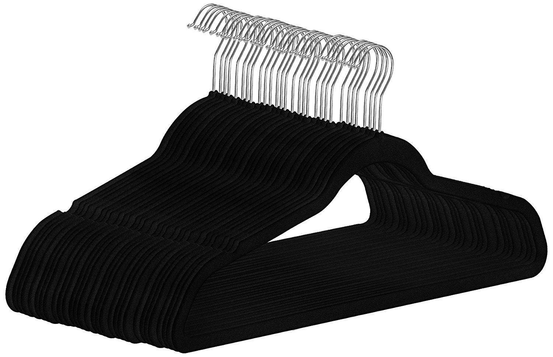 Utopia Home Premium Velvet Suit Hangers - Pack of 30 - Heavy Duty - Non Slip - Velvet Suit Hangers - Black