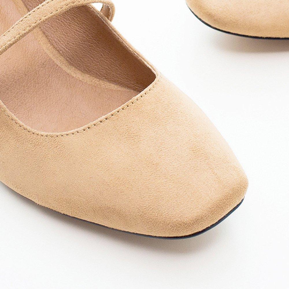 DKFJKI Shallow Bocca Scarpe da da da Donna Cintura Parola Perla Scarpe da Donna Testa Quadrata Vintage Tacchi Alti Mary Jane Selvaggia marrone 9f1f70