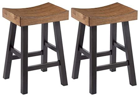 Ashley Furniture Signature Design – Glosco Vintage Casual Barstool – Counter Height – Set of 2 – Two-tone Brown Top With Black Base