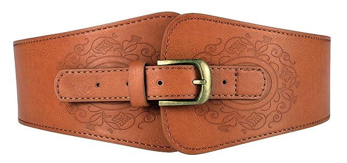 Motase Donna Retro Moda Casual Pelle Artificiale Cintura per Vestito Marrone 8749fa20f81