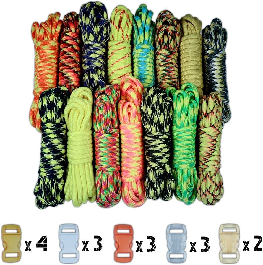 """550lb Parachute Cord and 3//8/"""" Plastic Contoured Buckles Paracord Survival Bracelet Combo Kits"""