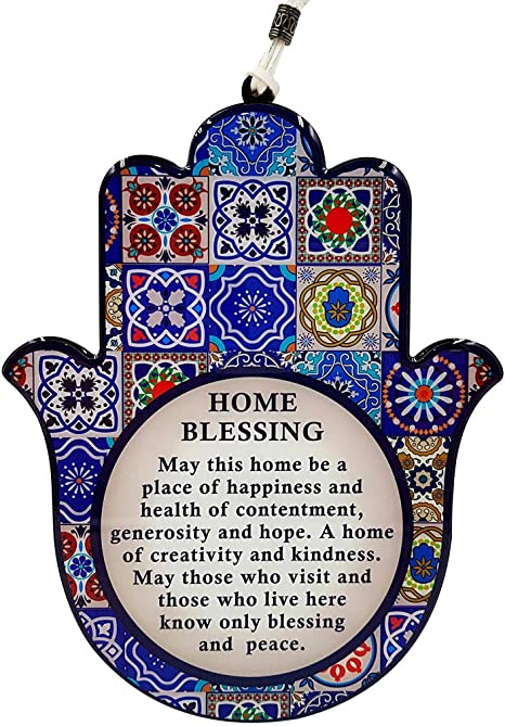 Amazon Com Talisman4u Good Luck Hamsa Hand Wall Decor Home Blessing Multicolor Oriental Design Evil Eye Protection Amulet English Blessing Home Kitchen