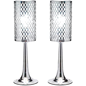Diamond Life Chrome Finish Metal Shade Table Lamp, 19-inch