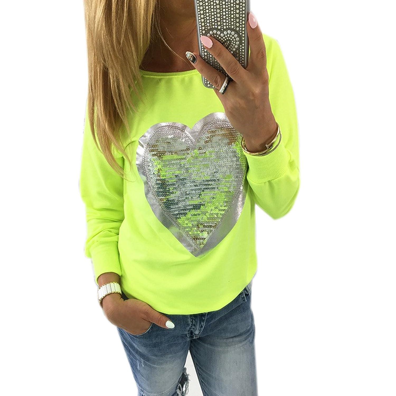 bb42bea14fe7a7 Fanmay Damen Casual Stylische Langarm Blusen Rundhals T-shirt Herz  Pailletten Glitzer Hemden Tops 30