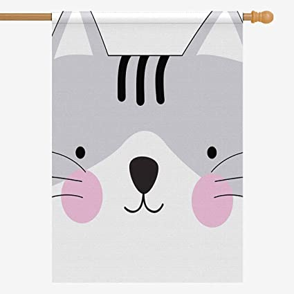 Amazon Com Interestprint Cute Cute Cat Face Gray Baby Cartoon Animal House Flag Decorative For Garden And Home Decorations House Banner 28 X 40 Inches Without Flagpole Garden Outdoor