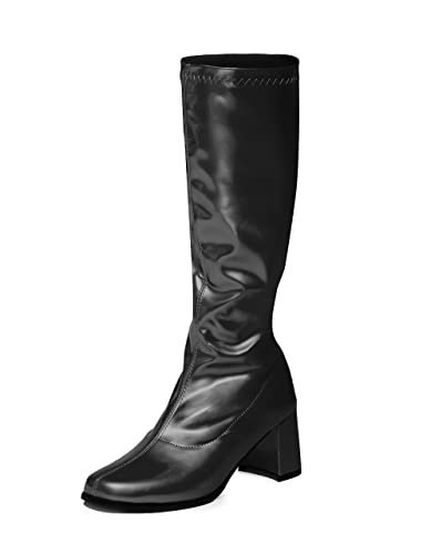 8fdd4d5d1d4 Black Knee High Boots - 60s 70s Fashion Boots - Black GoGo Boots - Sizes 3